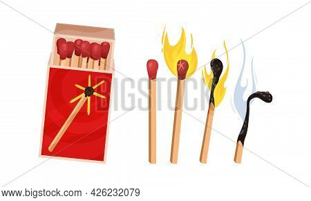 Matchbox And Matches As Small Wooden Stick For Starting Fire Vector Set