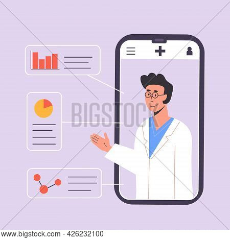 Smartphone Screen With Male Therapist Gives Online Diagnosis. An App With Doctor Consultation Or Adv