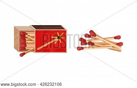 Matchbox And Match As Small Wooden Stick For Starting Fire Vector Set