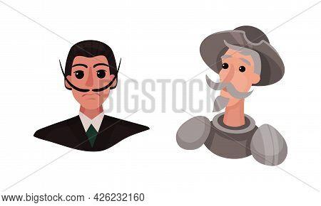 Spain Attributes With Don Quixote And Moustached Man Portrait Vector Set