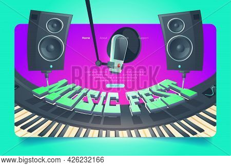 Music Fest Banner. Invitation To Musical Festival, Live Concert Event. Vector Landing Page With Cart