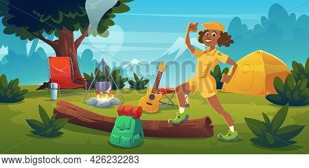 Woman In Summer Camp With Bonfire, Tent, Backpack, Chair And Guitar. Vector Cartoon Landscape With M
