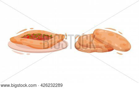 Turkey Culture Traditional Symbols With Pide Stuffed With Forcemeat And Flatbread Vector Set