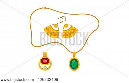 Jewellery Or Jewelry Item As Personal Adornment With Earrings And Pendant Ornament Vector Set
