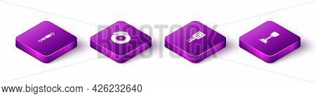 Set Isometric Shock Absorber, Car Brake Disk With Caliper, Key Remote And Gear Shifter Icon. Vector