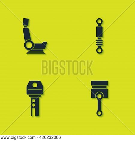 Set Car Seat, Engine Piston, Key With Remote And Shock Absorber Icon. Vector