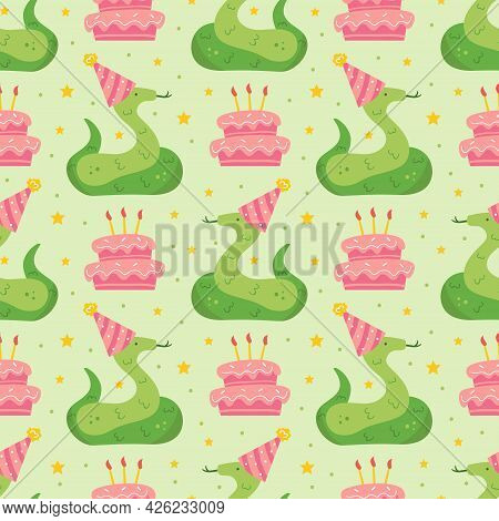 Happy Birthday Seamless Pattern. Cute Animal Snake In Holiday Hat. Jungle, Reptile. Decoration, Cake