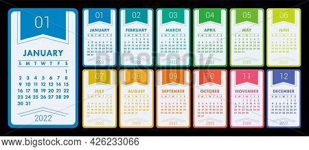 Calendar 2022 Year. Vector Colorful Calender Template. Infographics Design. Week Starts On Sunday