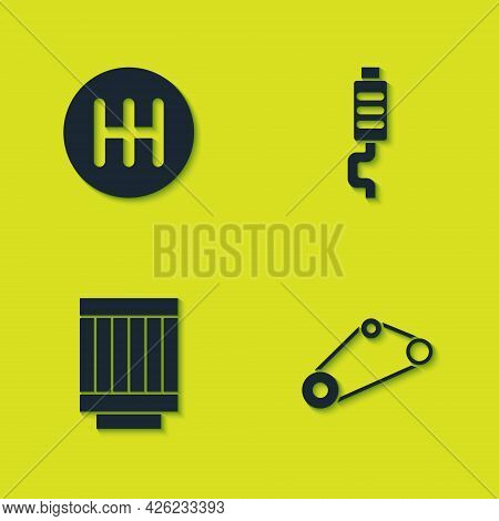 Set Gear Shifter, Timing Belt Kit, Car Air Filter And Muffler Icon. Vector