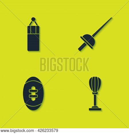 Set Punching Bag, , American Football Ball And Fencing Icon. Vector