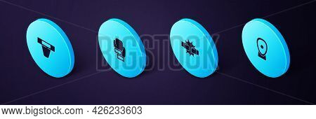 Set Isometric Boxing Training Paws, Punch Boxing Gloves, And Groin Guard Icon. Vector