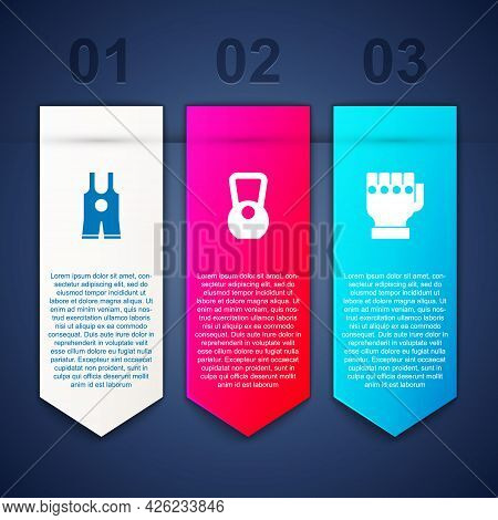 Set Wrestling Singlet, Kettlebell And Mma Glove. Business Infographic Template. Vector