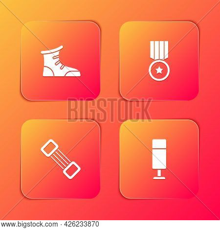 Set Sport Boxing Shoes, Medal, Chest Expander And Punching Bag Icon. Vector