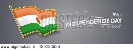 Niger Independence Day Vector Banner, Greeting Card.