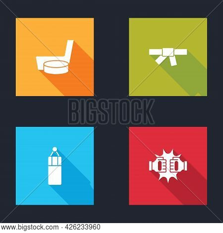 Set Ice Hockey Stick And Puck, Black Karate Belt, Punching Bag And Boxing Gloves Icon. Vector