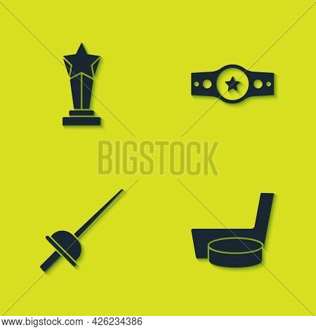 Set Award Cup, Ice Hockey Stick And Puck, Fencing And Boxing Belt Icon. Vector