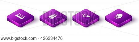 Set Isometric Boxing Ring, Wrestling Singlet, Whistle And Glove Icon. Vector