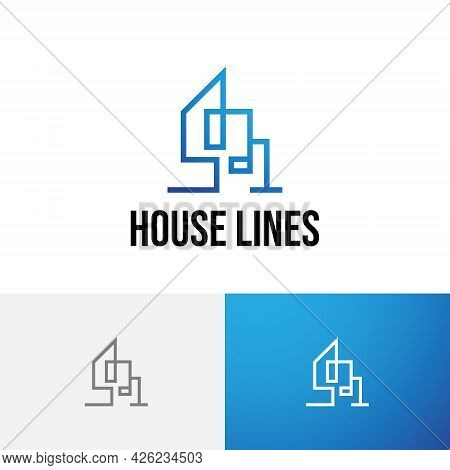 House Home Building Residential Real Estate Monoline Logo