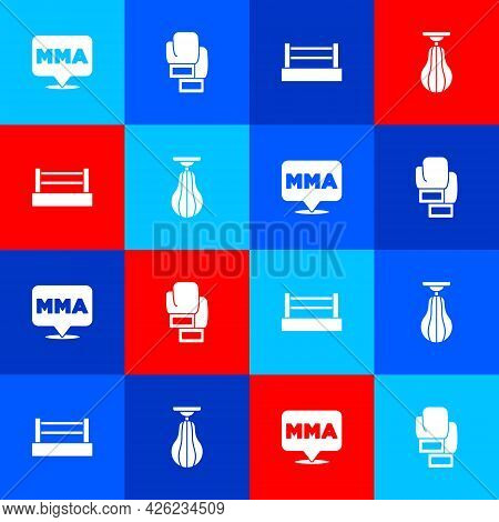 Set Fight Club Mma, Boxing Glove, Ring And Punching Bag Icon. Vector