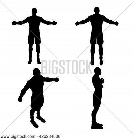Set With Silhouettes Of Boxer In Different Positions Isolated On White Background. Vector Illustrati