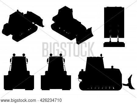 Set With Silhouettes Of A Bulldozer In Different Positions Isolated On A White Background. Vector Il