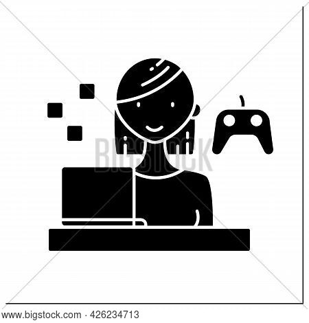 Gamer Glyph Icon.woman Plays Interactive Games, Especially Video Games, Tabletop Role-playing. Havin