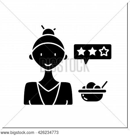 Food Critic Glyph Icon. Woman Analyzes Food Or Restaurants And Publishes The Results Of Their Findin