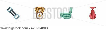 Set Chest Expander, Medal, Ice Hockey Stick Puck And Punching Bag Icon. Vector
