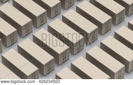 set of metal containers for freight shipping. 3d render.