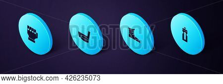 Set Isometric Fitness Shaker, Sport Boxing Shoes, Ice Hockey Stick And Puck And Mma Glove Icon. Vect