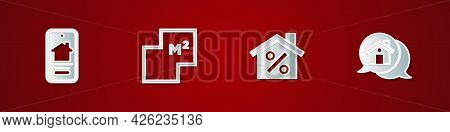Set Online Real Estate House, House Plan, With Percant Discount And Real Message Icon. Vector