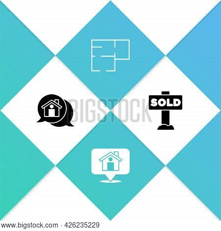 Set Real Estate Message House, Location With, House Plan And Hanging Sign Text Sold Icon. Vector