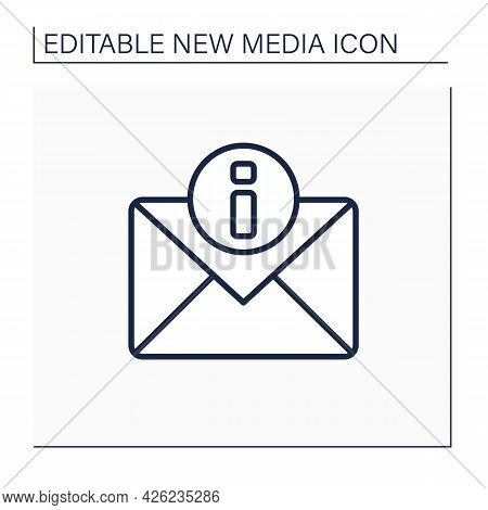 Notification Line Icon. Fresh Message. Report About New Email. Exchanging Messages, Chatting. Global