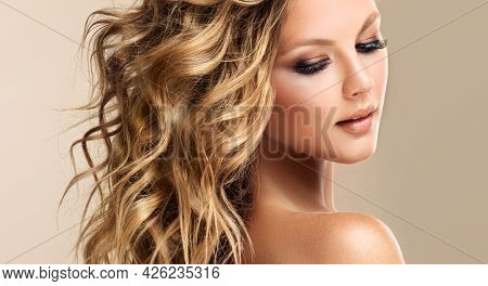 Beautiful Model Girl With Short Hair .beauty Smiling Woman With Blonde Curly Hairstyle Dye .fashion,