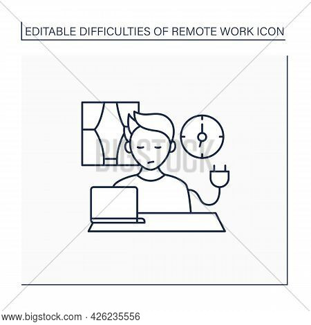 Remote Work Line Icon. Unplugging After Work. Low Energy Level. Tired. Impossible To Maintain Produc