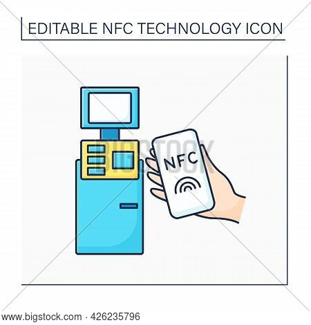 Nfc Color Icon. Safety Payment System On Mobile Phone. Paying Bills. Bank Terminal. Near Field Commu