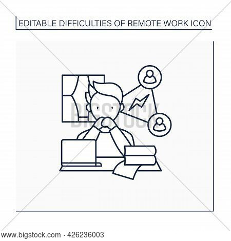 Remote Work Line Icon. Collaboration, Communication Issues. Inability To Fast Communicate.career Dif