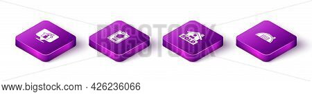 Set Isometric Location With House, House Contract, Hanging Sign Text Sold And Warehouse Icon. Vector