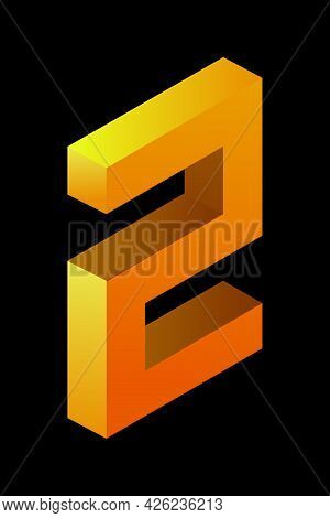 Gradient Golden Number 2 In Isometric Style. Yellow Figure Isolated On Black Background. Learning Nu