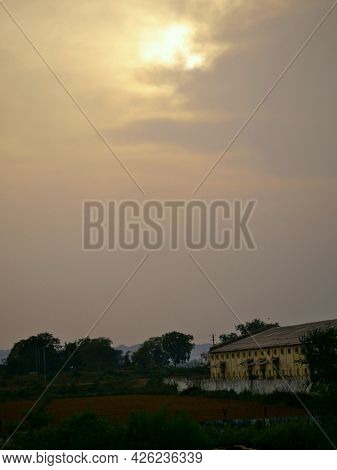 Food Corporation Go Down At Sunset Natural Sky Background.