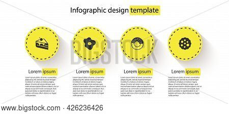 Set Piece Of Cake, Scrambled Eggs, Donut And Cookie Or Biscuit. Business Infographic Template. Vecto