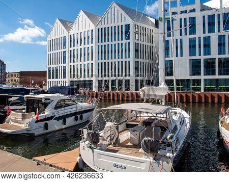 Gdansk, Poland - September 9, 2020: Motorboats And Sailboats At The Marina In Gdansk. Poland