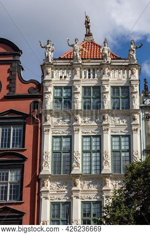 The Facade Of The Restored Gdansk Patrician House In The Long Market. Pomerania, Poland