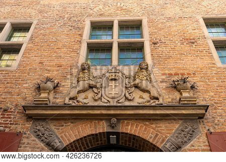 The Large Coat Of Arms Of The City Of Gdansk. Poland