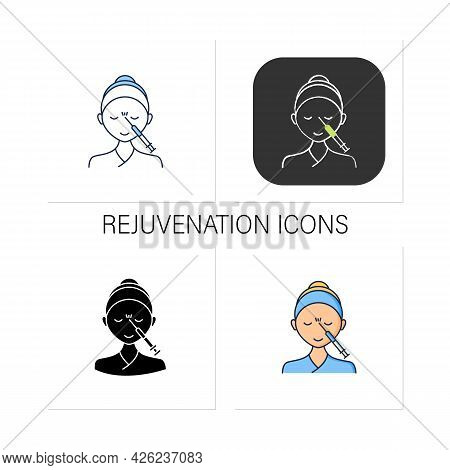 Cosmetic Injection Icons Set.woman Doing Injection Between Eyebrows. Rejuvenation. Beauty Cosmetic P