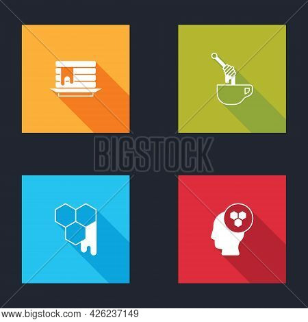 Set Stack Of Pancakes, Honey Dipper Stick With Honey, Honeycomb And Beekeeper Icon. Vector