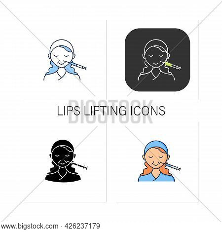 Cosmetic Injection Icons Set.woman Doing Injection Into Nose. Nose Lifting.rejuvenation. Beauty Cosm