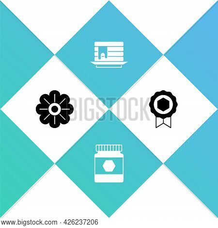 Set Flower, Jar Of Honey, Stack Pancakes And Honey Medal Icon. Vector