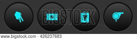 Set Baseball Glove, Ticket, Planning Strategy And Whistle Icon. Vector