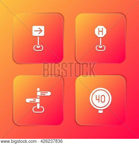 Set Traffic Sign Turn Right, Hospital Road Traffic, Road And Speed Limit Icon. Vector